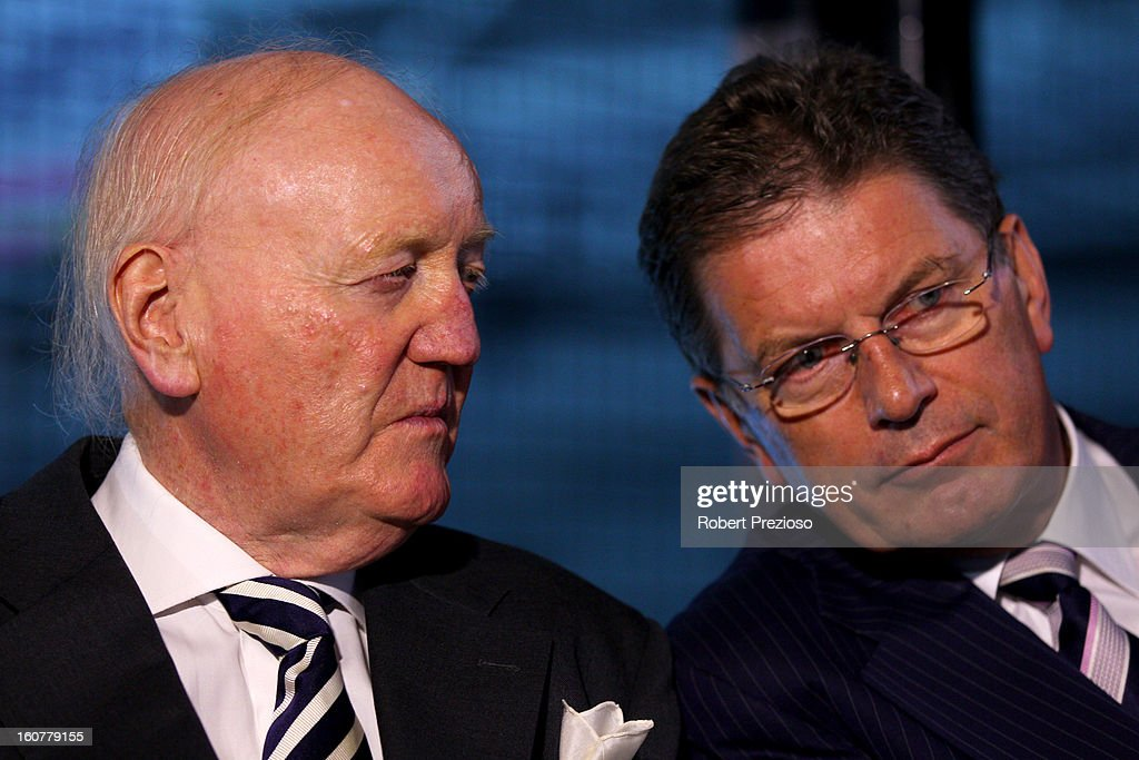 Chairman of the Grand Prix Corporation Ron Walker and Victorian Premier Ted Baillieu look on during the 2013 Formula One Australian Grand Prix Launch on February 5, 2013 in Melbourne, Australia.