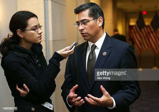 Chairman of the House Democratic Caucus Rep Xavier Becerra speaks to reporter after a House Democratic Caucus meeting January 15 2013 on Capitol Hill...