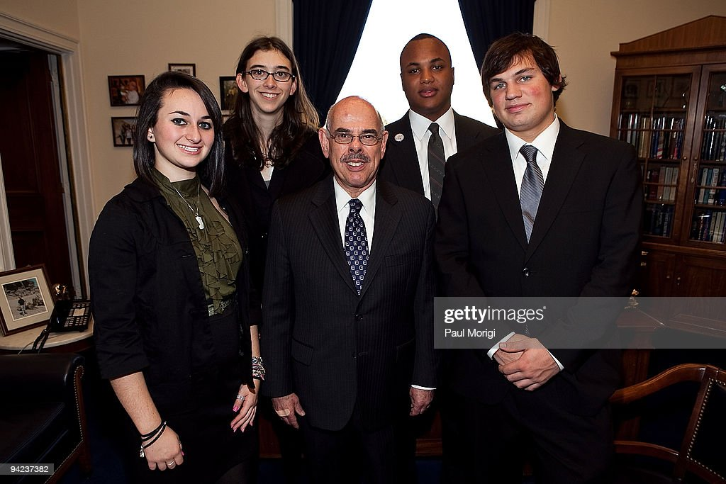Chairman of the House Energy and Commerce Committee Rep. <a gi-track='captionPersonalityLinkClicked' href=/galleries/search?phrase=Henry+Waxman&family=editorial&specificpeople=217361 ng-click='$event.stopPropagation()'>Henry Waxman</a> (D-CA) (C) meets with HALO Honorees Leah Stolz, Megan Kilroy, Darrius Snow, and Brryan Jackson during a visit to Capitol Hill on December 9, 2009 in Washington, DC. The TeenNick HALO Awards airs Friday, December 11 at 8:00pm (ET) on TeenNick and at 9:00pm (ET/PT) on Nick at Nite.