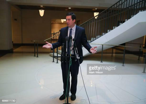 Chairman of the House Intelligence Committee Devin Nunes speaks to reporters after leaving a closed meeting with fellow committee members on Capitol...