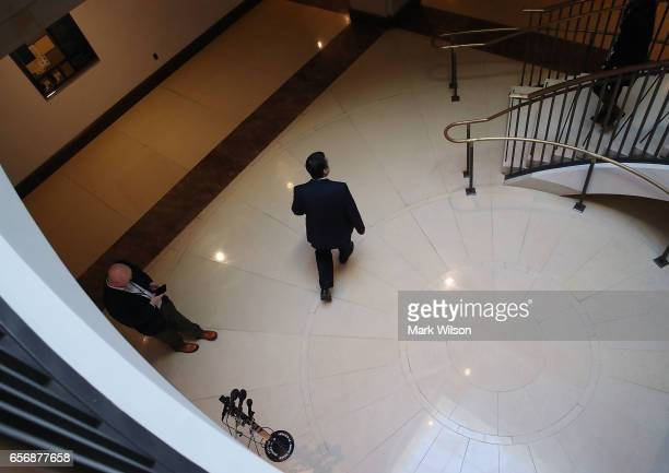 Chairman of the House Intelligence Committee Devin Nunes walks away after speaking to reporters after leaving a closed meeting with fellow committee...