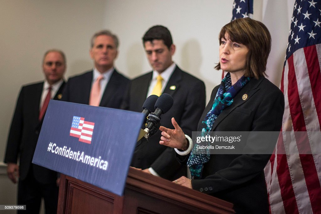 Chairman of the House Republican Conference Rep. <a gi-track='captionPersonalityLinkClicked' href=/galleries/search?phrase=Cathy+McMorris+Rodgers&family=editorial&specificpeople=5685653 ng-click='$event.stopPropagation()'>Cathy McMorris Rodgers</a> (R-WA), along with (L-R) Majority Whip <a gi-track='captionPersonalityLinkClicked' href=/galleries/search?phrase=Steve+Scalise&family=editorial&specificpeople=5482687 ng-click='$event.stopPropagation()'>Steve Scalise</a> (R-LA), House Majority Leader Rep. <a gi-track='captionPersonalityLinkClicked' href=/galleries/search?phrase=Kevin+McCarthy+-+U.S.+Congressman&family=editorial&specificpeople=6726000 ng-click='$event.stopPropagation()'>Kevin McCarthy</a> (R-CA), and U.S. Speaker of the House Rep. <a gi-track='captionPersonalityLinkClicked' href=/galleries/search?phrase=Paul+Ryan+-+Politician&family=editorial&specificpeople=7641535 ng-click='$event.stopPropagation()'>Paul Ryan</a> (R-WI), speaks to reporters at a press event at the Capitol on February 10, 2016 in Washington, D.C. The House GOP leaders spoke about President Obama's fiscal year 2017 budget that was released the day before.