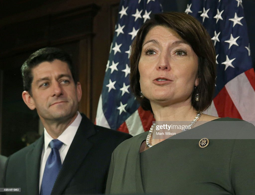 Chairman of the House Republican Conference Rep. <a gi-track='captionPersonalityLinkClicked' href=/galleries/search?phrase=Cathy+McMorris+Rodgers&family=editorial&specificpeople=5685653 ng-click='$event.stopPropagation()'>Cathy McMorris Rodgers</a> (R-WA) speaks to the media while flanked by House Speaker <a gi-track='captionPersonalityLinkClicked' href=/galleries/search?phrase=Paul+Ryan+-+Politician&family=editorial&specificpeople=7641535 ng-click='$event.stopPropagation()'>Paul Ryan</a> (R-WI), after a meeting with House Republicans on Capitol Hill November 3, 2015 in Washington, DC. Ryan joined with members of the House leadership to discuss legislation that is currently before Congress.
