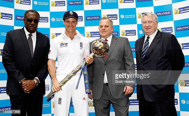 Chairman of the ICC Clive Lloyd England captain Andrew Strauss Executive Senior Vice President of Reliance Communications Rod Riley and ECB Chief...