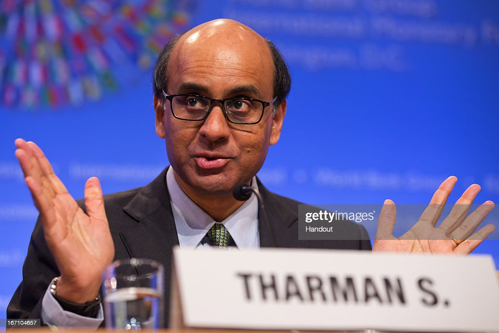 Chairman of the IMFC Tharman Shanmugaratnam answers a question during a joint press coference after their meeting April 20, 2013 at the IMF Headquarters in Washington, DC. The IMF/World Bank Meetings are being held in Washington, DC.