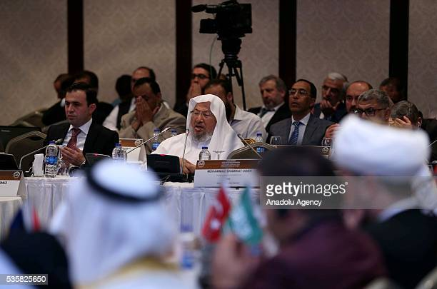 Chairman of the International Union of Muslim Scholars Yusuf alQaradawi delivers a speech during the International Hijri Calendar Unity Congress...