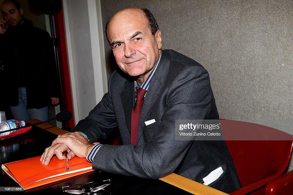 Chairman of the Italian Democratic Party Pier Luigi Bersani attends 'Il futuro e di tutti ma e uno solo' book presentation held at Casa della cultura...