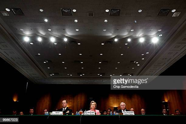 US Chairman of the Joint Chiefs of Staff Admiral Michael Mullen Secretary of State Hillary Clinton and Defense Secretary Robert Gates testify before...