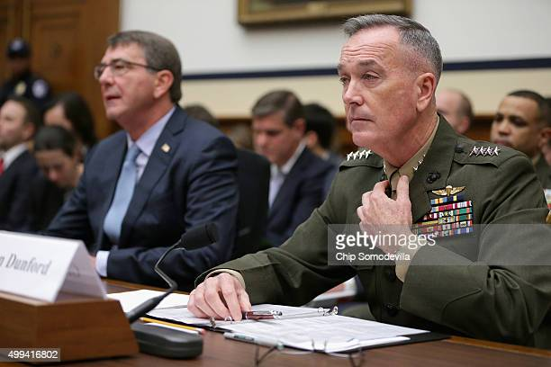 Chairman of the Joint Chiefs of Staff Gen Joseph Dunford Jr and Defense Secretary Ashton Carter testify before the House Armed Services Committee in...