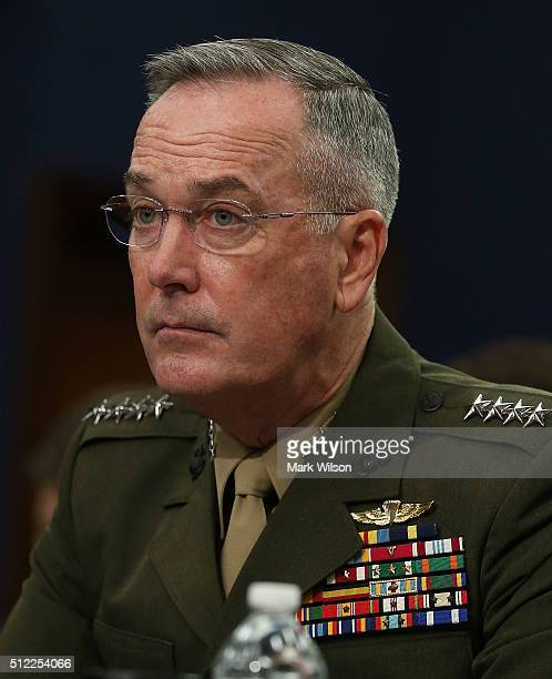 Chairman of the Joint Chiefs of Staff Gen Joseph Dunford Jr appears before the House Appropriations Committee on Capitol Hill February 25 2015 in...