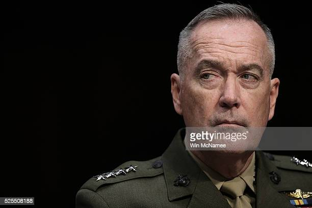 Chairman of the Joint Chiefs of Staff Gen Joseph Dunford Jr testifies before the Senate Armed Services Committee April 28 2016 in Washington DC The...