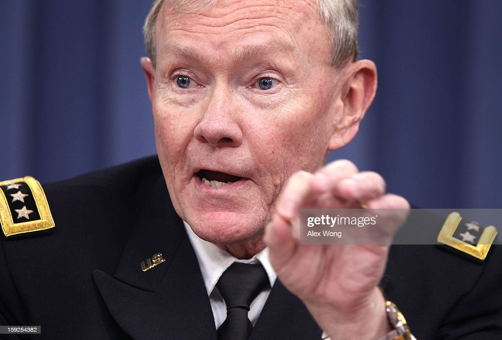 U.S. Chairman of the Joint Chiefs of Staff Gen. <a gi-track='captionPersonalityLinkClicked' href=/galleries/search?phrase=Martin+Dempsey&family=editorial&specificpeople=2116621 ng-click='$event.stopPropagation()'>Martin Dempsey</a> participates in a news briefing at the Pentagon January 10, 2013 in Arlington, Virginia. Dempsey and Secretary of Defense Leon Panetta announced that the Pentagon will begin reversible sequester preparations including pulling back military maintenance not critical to immediate missions, freezing civilian hiring and other steps against a possible $45 billion spending cut that could be in effect in March.
