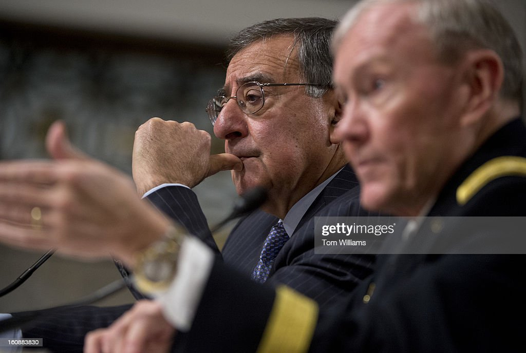 Chairman of the Joint Chiefs of Staff Gen. Martin Dempsey, right, and Secretary of Defense Leon Panetta, testify before a Senate Armed Services Committee hearing on the Defense Department's response to the attack on U.S. embassy in Benghazi, Libya, and discuss the findings of its internal review of the attack.
