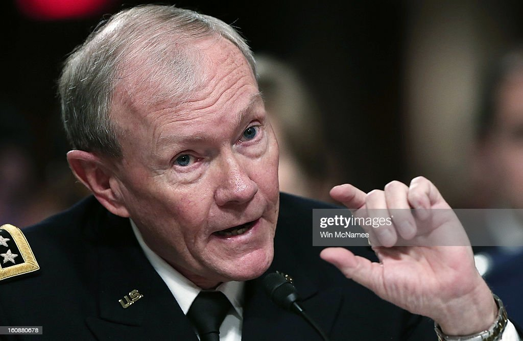 U.S. Chairman of the Joint Chiefs of Staff Gen. <a gi-track='captionPersonalityLinkClicked' href=/galleries/search?phrase=Martin+Dempsey&family=editorial&specificpeople=2116621 ng-click='$event.stopPropagation()'>Martin Dempsey</a> testifies on the attack on U.S facilities in Benghazi, Libya before the Senate Armed Services Committee February 7, 2013 in Washington, D.C. Senators questioned U.S. Defense Secretary Panetta and Dempsey about the September 11 attacks against the U.S. mission in Benghazi, Libya, that led to the death of four Americans, including U.S. Ambassador Christopher Stevens.