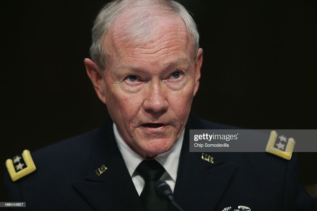 Chairman of the Joint Chiefs of Staff Gen. Martin Dempsey testifies before the Senate Armed Services Committee with other members of the U.S. military Joint Chiefs of Staff on Capitol Hill May 6, 2014 in Washington, DC. Joined by senior enlisted officers, the Joint Chiefs testified about proposals relating to military compensation.