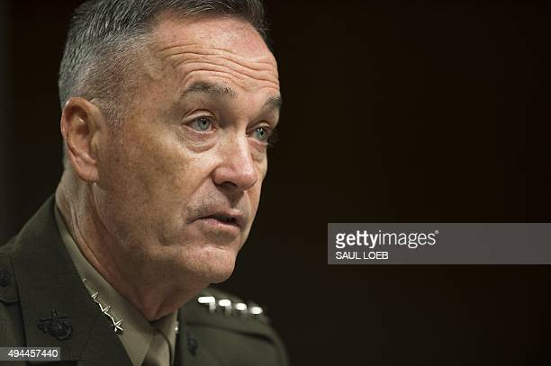 Chairman of the Joint Chiefs of Staff General Joseph Dunford testifies during a Senate Armed Services Committee hearing about the Middle East on...