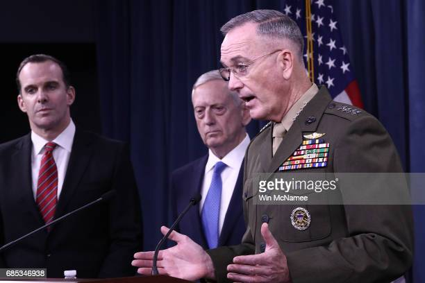 Chairman of the Joint Chiefs of Staff Marine Gen Joseph F Dunford Jr US Secretary of Defense Jim Mattis and Special Presidential Envoy for the Global...