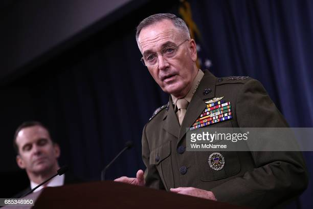 Chairman of the Joint Chiefs of Staff Marine Gen Joseph F Dunford Jr and Special Presidential Envoy for the Global Coalition to Counter ISIS Brett...
