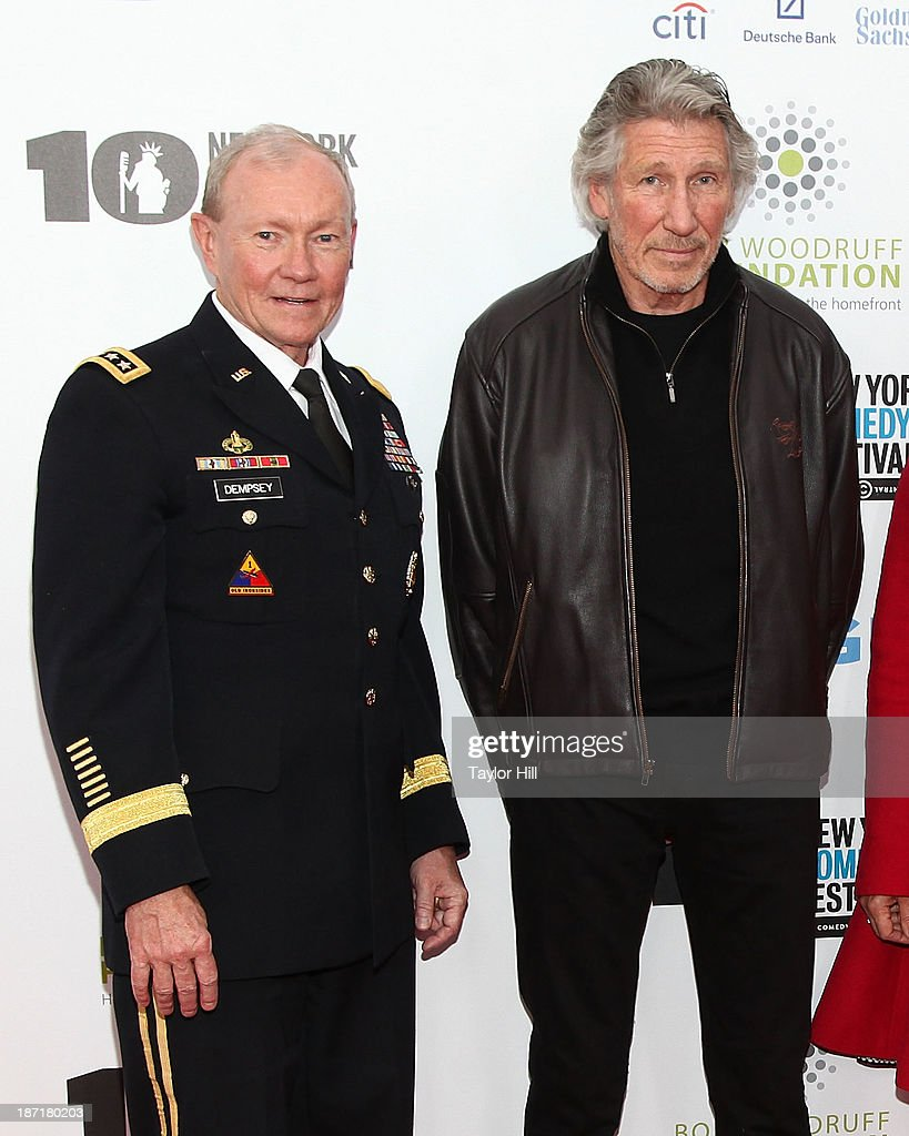 Chairman of the Joint Chiefs of Staff <a gi-track='captionPersonalityLinkClicked' href=/galleries/search?phrase=Martin+Dempsey&family=editorial&specificpeople=2116621 ng-click='$event.stopPropagation()'>Martin Dempsey</a> and bassist <a gi-track='captionPersonalityLinkClicked' href=/galleries/search?phrase=Roger+Waters&family=editorial&specificpeople=233732 ng-click='$event.stopPropagation()'>Roger Waters</a> attend the 7th annual 'Stand Up for Heroes' benefit at The Theatre at Madison Square Garden on November 6, 2013 in New York City.
