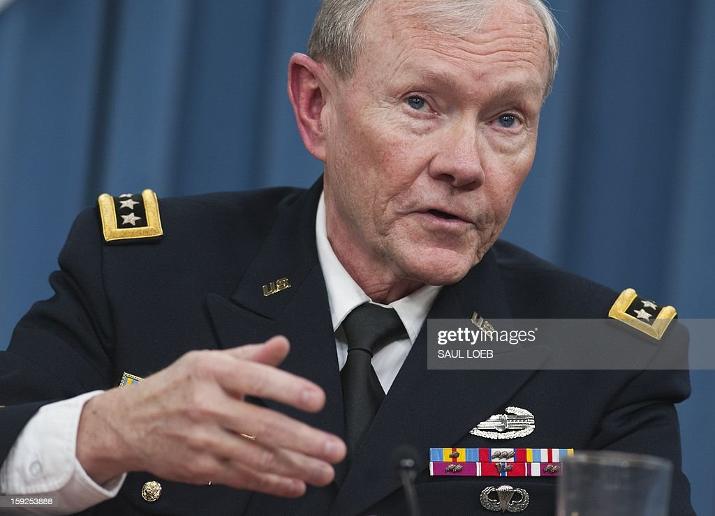 Chairman of the Joint Chiefs of Staff Martin Dempsey speaks during a press conference at the Pentagon in Washington, DC, on January 10, 2013. AFP PHOTO / Saul LOEB