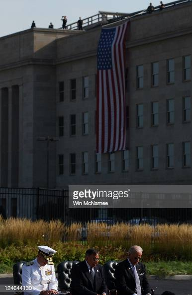 Chairman of the Joint Chiefs of Staff Michael Mullen Secretary of Defense Leon Panetta and Vice President Joe Biden take part in a remembrance...