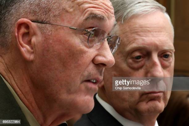 Chairman of the Joint Chiefs of Staff USMC Gen Joseph Dunford and US Defense Secretary James Mattis testify before the House Armed Services Committee...