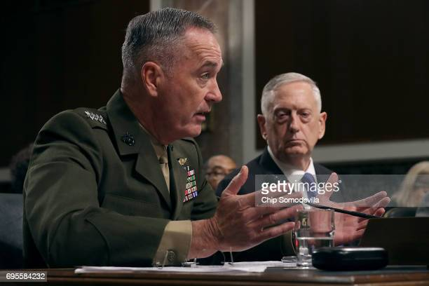 Chairman of the Joint Chiefs of Staff USMC Gen Joseph Dunford and US Defense Secretary James Mattis testify before the Senate Armed Services...
