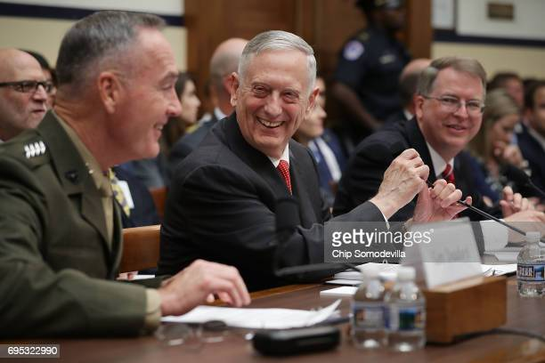 Chairman of the Joint Chiefs of Staff USMC Gen Joseph Dunford US Defense Secretary James Mattis and Under Secretary of Defense and Chief Financial...