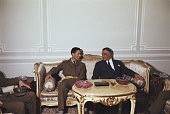 Chairman of the Libyan Arab Republic Muammar Gaddafi pictured left with President of Egypt Gamal Abdel Nasser at a meeting in Cairo Egypt on 13th...