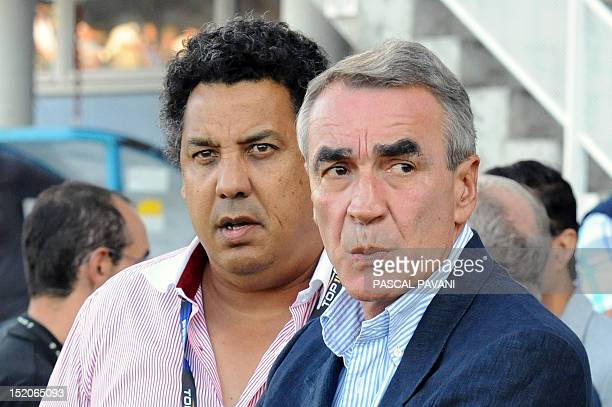 Chairman of the Ligue Nationale de Rugby French PierreYves Revol and Biarritz's rugby union club president Serge Blanco are pictured during the...
