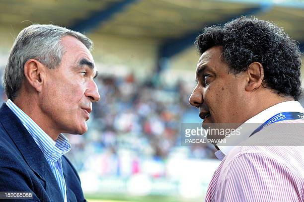Chairman of the Ligue Nationale de Rugby French PierreYves Revol talks to Biarritz's rugby union club president Serge Blanco during the French Top 14...