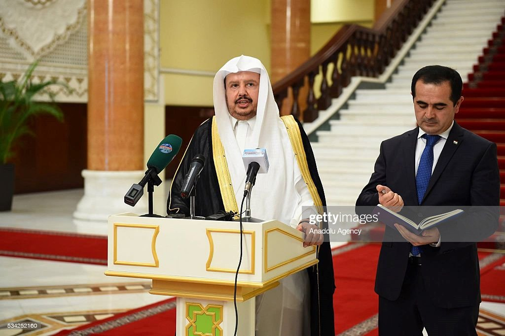 Chairman of the Majlis ash-Shura, Abdullah ibn Muhammad Al ash-Sheikh holds a press conference following his meeting with President of Tajikistan Emomali Rahmon in Dushanbe, Tajikistan on May 25, 2016.