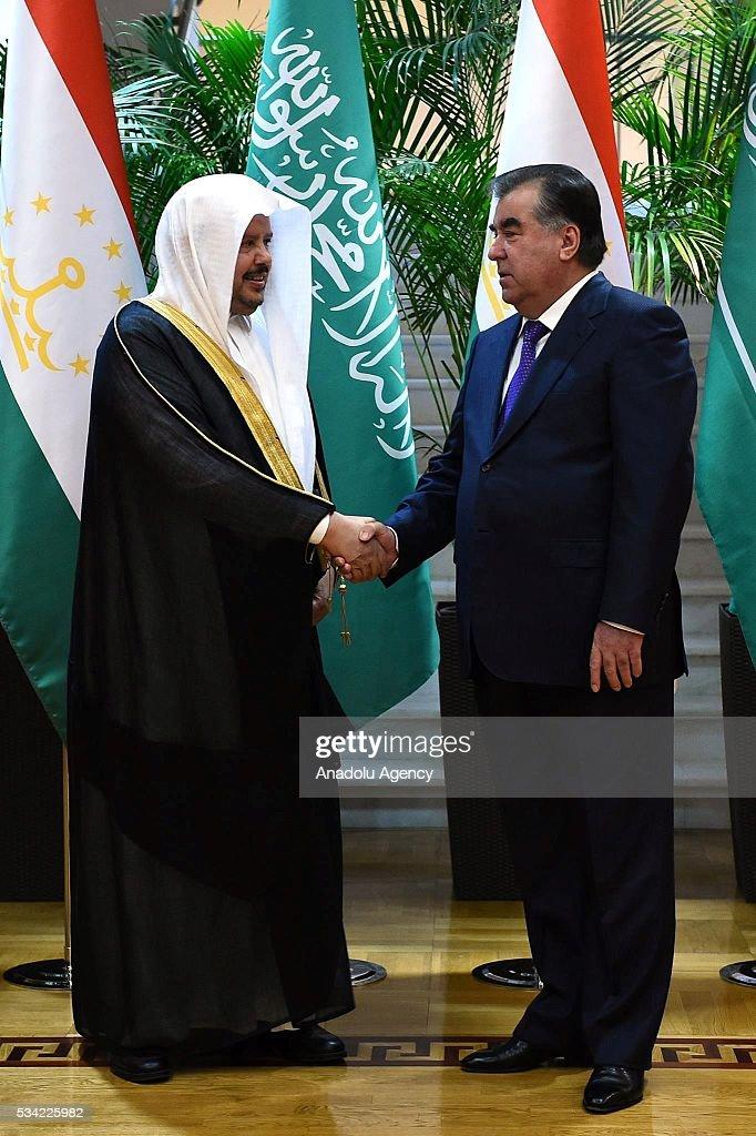 Chairman of the Majlis ash-Shura, Abdullah ibn Muhammad Al ash-Sheikh (L) meets President of Tajikistan Emomali Rahmon in Dushanbe, Tajikistan on May 25, 2016.