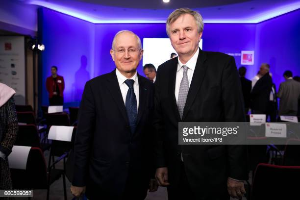 Chairman of the Management Board of La Banque Postale Remy Weber and La Poste CEO Philippe Wahl attend a press conference of The Caisse des Depots...