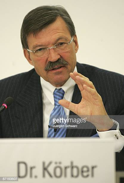 Chairman of the Metro Group Board of Management HansJoachim Koerber gestures at the annual news conference March 22 2006 in Duesseldorf Germany...