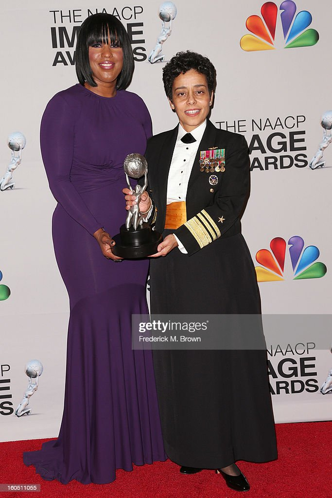 Chairman of the National Board of Directors Roslyn M. Brock and United States Navy Vice Admiral Michelle Janine Howard, recipient of the Chairman's Award, poses in the press room during the 44th NAACP Image Awards at The Shrine Auditorium on February 1, 2013 in Los Angeles, California.