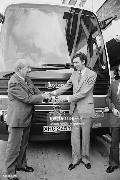 Chairman of the National Bus Company Malcolm Shepherd Lord Shepherd pictured left with David Howell Secretary of State for Transport at a Leyland Bus...