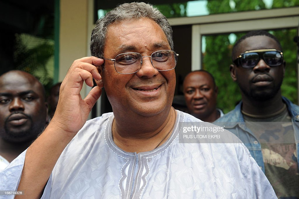 Chairman of the opposition New Patriotic Party Jake ObetsebiLamptey speaks after a press point on planned legal action to challenging the recent...