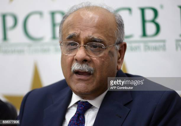 Chairman of the Pakistan Cricket Board Najam Sethi speaks during a press conference in Lahore on August 24 2017 South African skipper Faf du Plessis...