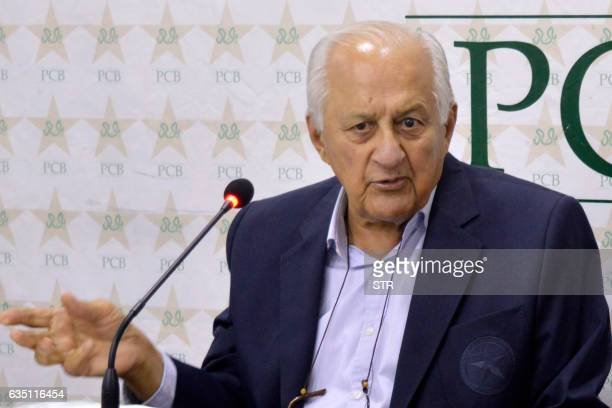 Chairman of the Pakistan Cricket Board Shaharyar Khan speaks during a press conference in Lahore on February 13 2017 Pakistani cricket officials said...