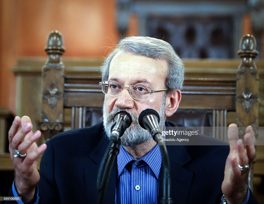 Chairman of the Parliament of Iran, Ali Larijani holds a press conference at old Iranian Parliament session hall, in Tehran, Iran on May 25, 2016.