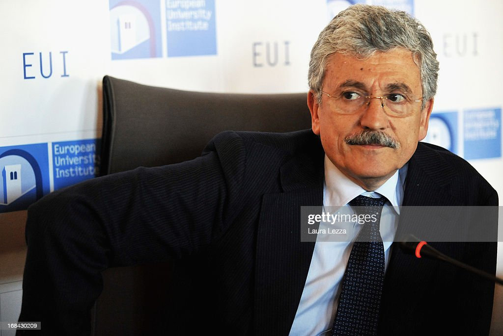 Chairman of the Parliamentary Committee for the Security of the Republic (COPASIR), former prime Minister and member of the Italian Chamber of Deputies in the new Italian Government <a gi-track='captionPersonalityLinkClicked' href=/galleries/search?phrase=Massimo+D%27Alema&family=editorial&specificpeople=227965 ng-click='$event.stopPropagation()'>Massimo D'Alema</a> speaks during The State of Union conference on May 9, 2013 in Florence, Italy. Academic, business and political leaders are taking part in the annual conference which lasts through May 10th, debating various EU policies and institutions.