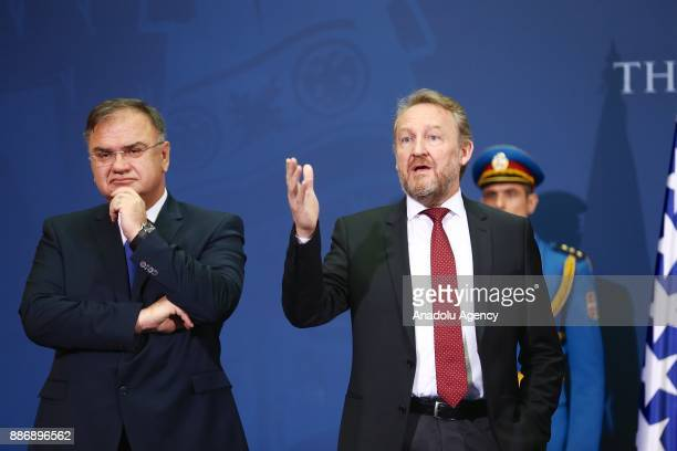 Chairman of the Presidency of Bosnia and Herzegovina Mladen Ivanic and Bosnian Leader Bakir Izetbegovic hold a joint press conference following their...
