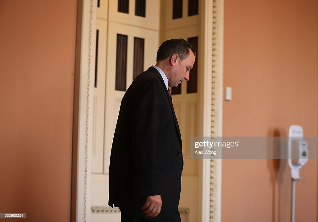 Chairman of the Republican National Committee Reince Priebus leaves after the weekly Senate Republican Policy Committee luncheon May 24, 2016 on Capitol Hill in Washington, DC. Senate Republicans held a policy luncheon to discuss GOP agenda.
