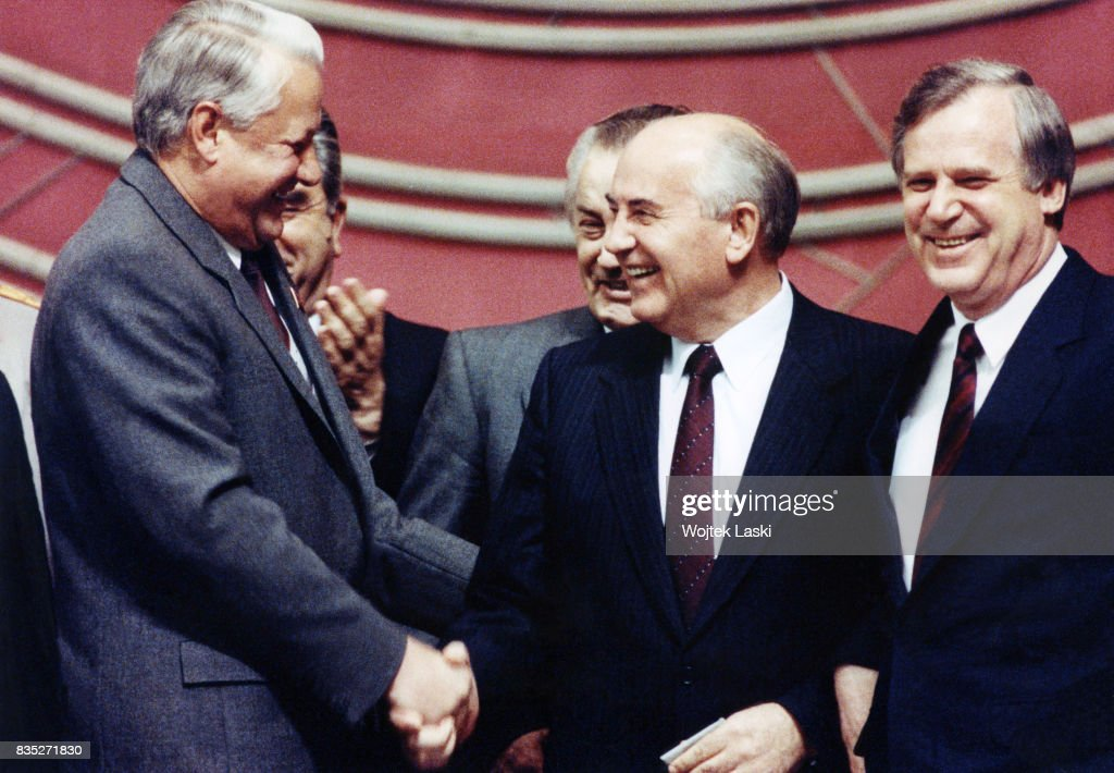 Chairman of the Russian Supreme Soviet Boris Yeltsin, General Secretary of the CPSU Mikhail Gorbachev and Chairman of the Council of Ministers Nikolai Ryzhkov during the celebrations of the 73rd anniversary of the October Revolution. State Kremlin Palace, Moscow, Russia, in November 1991.