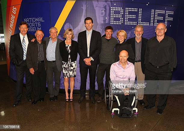 Chairman of the Sport Australia Hall Of Fame John Bertrand poses with recent inductees Ken Arthurson David Parkin Sarah Fitzgerald Grant Hackett...