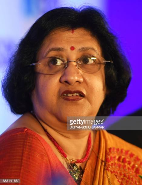 Chairman of The State Bank of India Arundhati Bhattacharya looks on as she announces the annual financial results of the bank for the year ended...