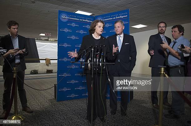 Chairman of the US Senate Select Committee on Intelligence Richard Burr RNorth Carolina looks on as Vice Chair Senator Dianne Feinstein DCalifornia...