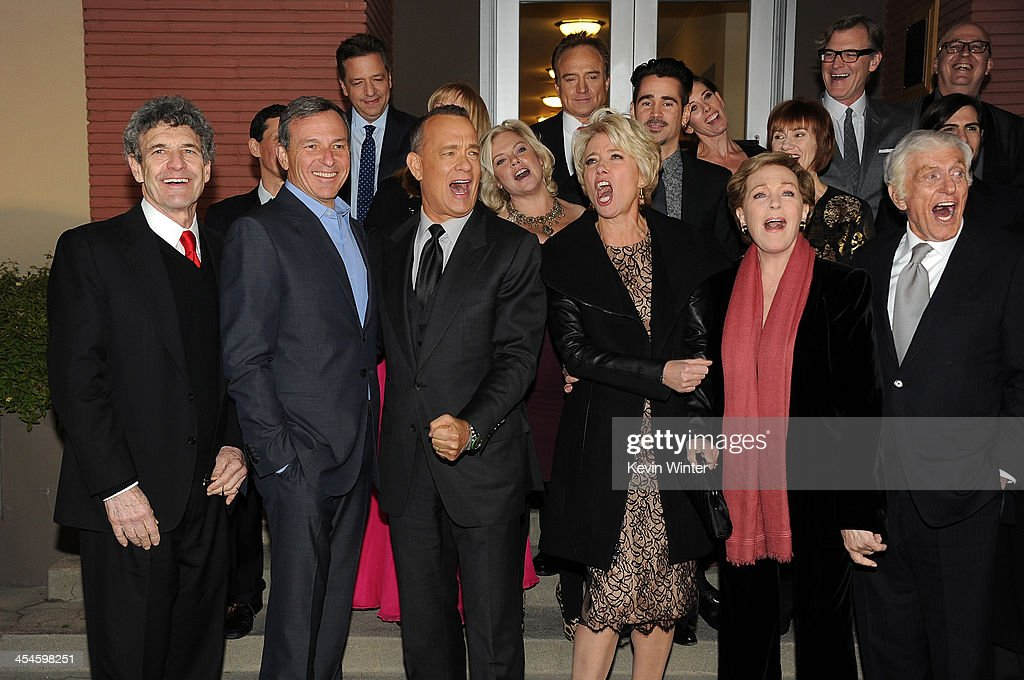 Chairman of the Walt Disney Studios Alan Horn, Chairman and Chief Executive of The Walt Disney Company Bob Iger, actors Tom Hanks, Emma Thompson, Julie Andrews and Dick Van Dyke attend the U.S. premiere of Disney's 'Saving Mr. Banks', the untold backstory of how the classic film 'Mary Poppins' made it to the screen, at the Walt Disney Studios on December 9, 2013 in Burbank, California. The film opens this Holiday season.