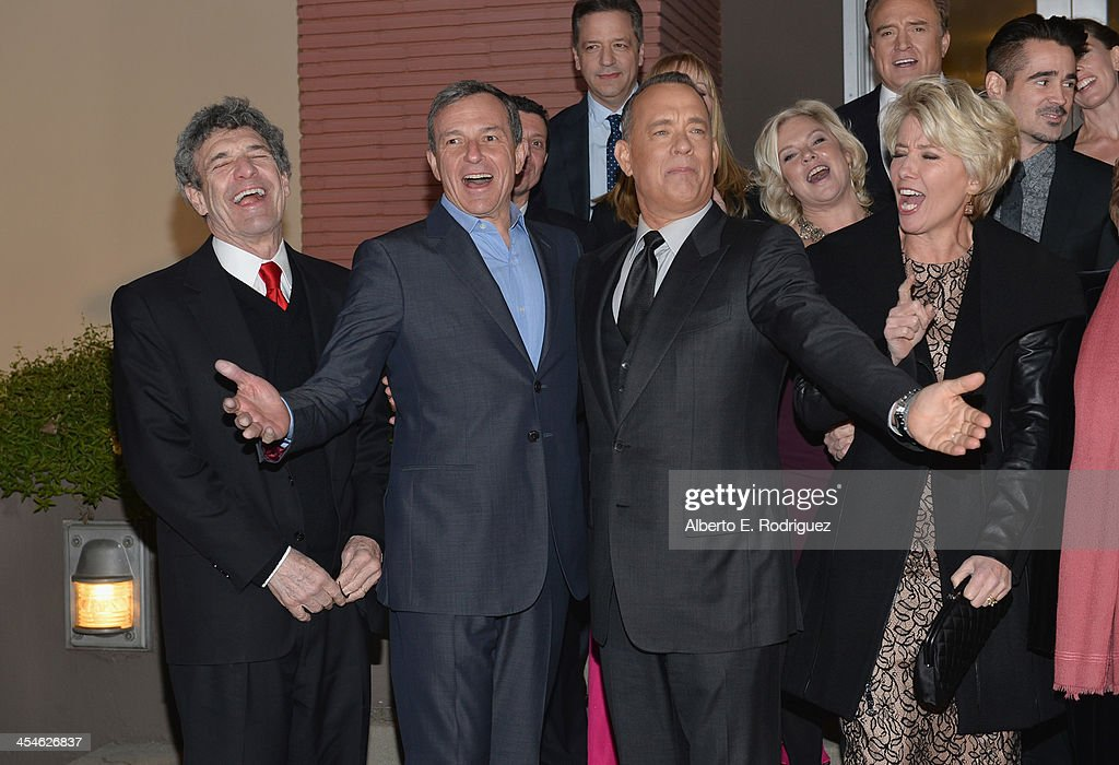 Chairman of the Walt Disney Studios Alan Horn, Chairman and Chief Executive of The Walt Disney Company Bob Iger, actors Tom Hanks and Emma Thompson attend the U.S. Premiere Of Disney's 'Saving Mr. Banks' at Walt Disney Studios on December 9, 2013 in Burbank, California.